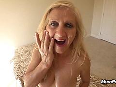 Sexy busty blonde wife sucks big hard cock