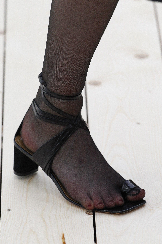 Pantyhose peep toe shoes