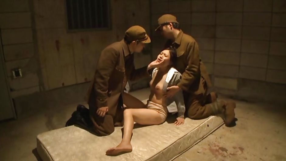 Asian prisoner gangbanged by soldiers