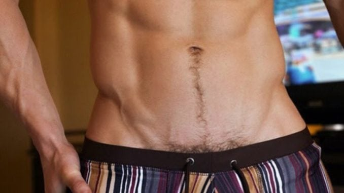 Men with shaved pubic area