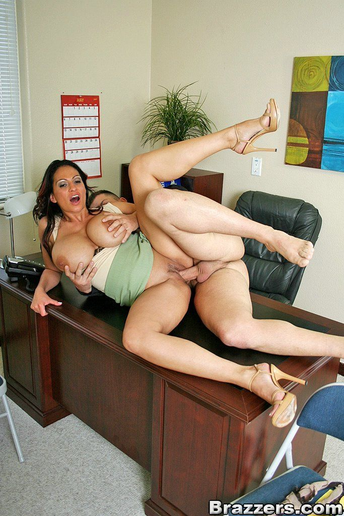Busty brunette office girls